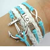 BlueTop(TM) Fashion Vintage Love Nautical Anchor Silver Infinity Bracelet White Leather Skyblue Rope