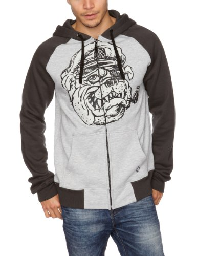 Iron Fist Salty Dog Zip Hoodie Men's Jumper Grey Heather Large
