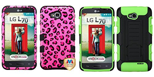 Combo Pack Mybat Pink Leopard Skin/Black Tuff Hybrid Phone Protector Cover For Lg Ms323 (Optimus L70) Lg Vs450Pp (Optimus Exceed 2) And Asmyna Black/Electric Green Car Armor Stand Protector Cover (Rubberized) For Lg Ms323 (Optimus L70) Lg Vs450Pp (Optimus