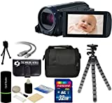 Canon VIXIA HF R600 IS Full HD Video Digital Camcorder (Black) With 57x Zoom + 32GB High-Speed Card + Case + Tripod + Complete Accessories Bundle