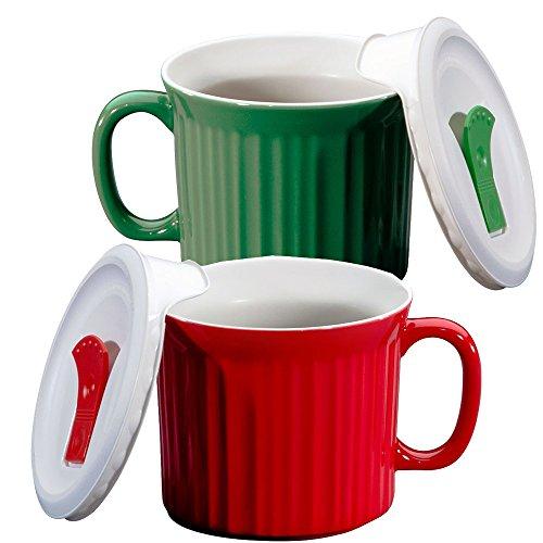 Corningware 20-oz Pop-ins Mug Set Includes 2 Mugs with Vented Plastic Lids (Tomato Red & Green Tea)