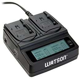 Watson Duo LCD Charger for BP-800 Series Batteries - Canon BP-808, BP-809, BP-819, BP-820, BP-827, and BP-828 type