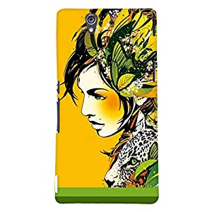 Fuson Pattern Girl Back Case Cover for SONY XPERIA Z - D3661