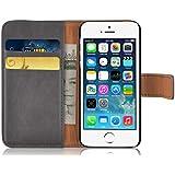 JAMMYLIZARD | Ledertasche Retro Wallet Hülle für iPhone 5 und 5S, GRAU