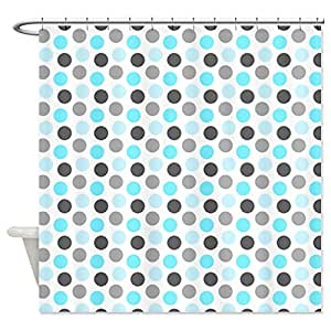 Cafepress Teal Grey Dots Shower Curtain Standard White