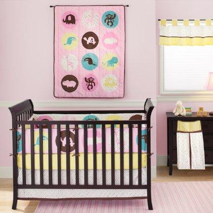 Pink Safari Crib Bedding