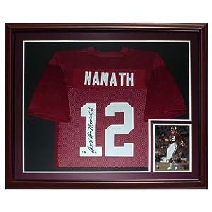 Joe Namath Autographed Alabama Crimson Tide (Maroon #12) Deluxe Framed Jersey