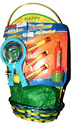 Easter Basket with Paddle Set and Air Rocket Shooter Toys