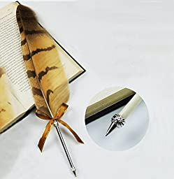 MFC ONLINE Vintage Owl Feather Pen Refined Plated Rod Quill Ballpoint Pen (1*Feather ballpoint pen)