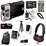 Sony HDRMV1 HDR-MV1 Music Video Recorder (Black) with Sony 64GB Micro SDHC Card + Sony Case + Sony MDR-ZX600BLK Headphones + Replacement Battery and Charger Kit for Sony NP-BX1 and Sony HDR-MV1 + Accessory Kit
