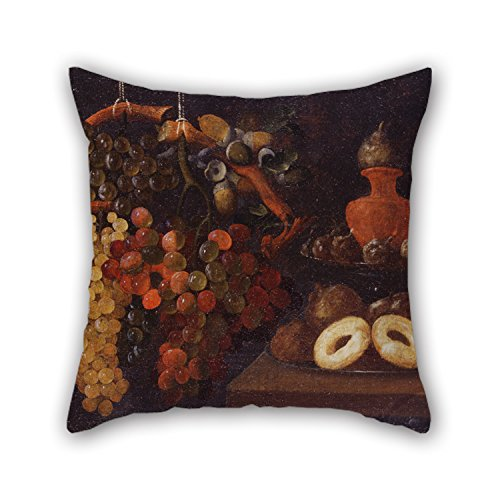 Cushion Covers 16 X 16 Inches / 40 By 40 Cm(twin Sides) Nice Choice For Floor,play Room,valentine,club,car Seat,father Oil Painting Espinosa, Juan De - Life Still With Grapes And Cakes Toile Cake