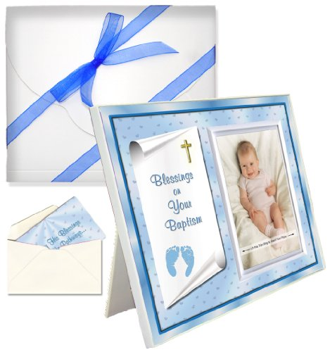 "Baby Blessing Baptism Christening Picture Frame Gift ""Blessings on Your Baptism""- Boy"