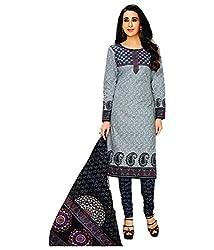Shree Ganesh Grey Cotton Printed Unstitched Churiddar Suit with Dupatta