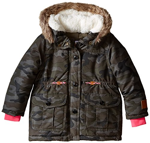 Carter's Little Girls' Parka Coat With Sherpa Hood, Camo, 4T