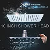 YaKult(TM) 10 Inch Ultra Thin Solid Square Stainless Steel Rain Shower Head High Pressure Rainfall Shower Head Chrome SRSH-1003