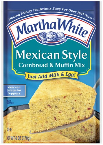 Martha White Mexican Style Cornbread and Muffin Mix, 6-Ounce Packages (Pack of 12)