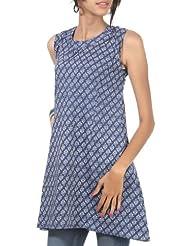 Rajrang Cotton Blue Screen Printed Tunic Top