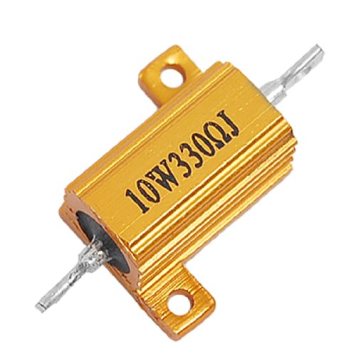10W Power 5% 330 Ohm Aluminum Wire Wound Resistor Gold Tone