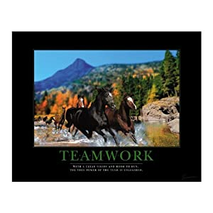 Teamwork Motivational Posters on Com  Successories Teamwork Horses Motivational Poster  Office Products