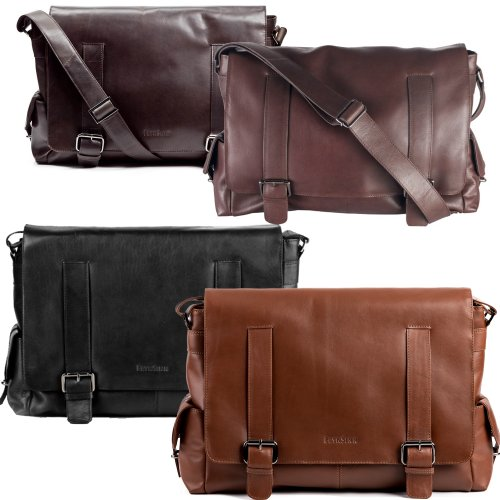 FEYNSINN XL messenger laptop bag ASHTON for men - crafted crossbody satchel in genuine leather (16 x 12 x 4 in.)