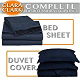 Clara Clark Complete 7 Piece Bed Sheet and Duvet Cover Set, Full Size, Navy Dark Blue