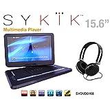 Sykik SYDVD0168 15.6'' All multi region, zone free, HD swivel portable DVD player,USB,SD ports with headphones, Ac adaptor ,car adaptor Remote control (one year warranty) Black