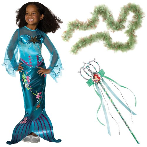 Magical Mermaid Costume Small Including Ariel Wand and Seaweed Boa