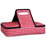 DII Insulated Casserole Carrier, Perfect for Summer Picnics, BBQ's, Potlucks, Parties, And Monogramming - Checkered, Red/White