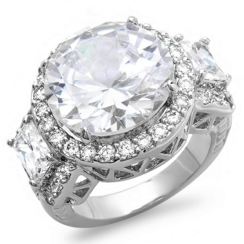 10.00 CT Ladies Round & Baguette Cubic Zirconia CZ Wedding Bridal Engagement Ring (Available in size 6, 7, 8) size 6