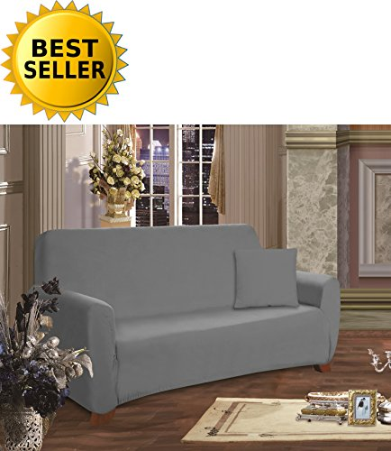 Elegant Comfort Collection Luxury Soft Furniture Jersey STRETCH SLIPCOVER, Sofa Gray