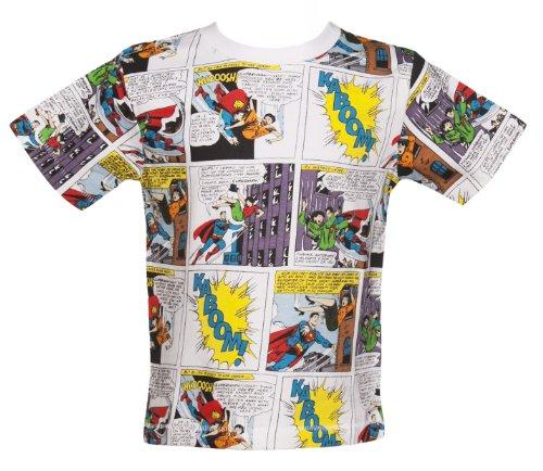Kids Multi Retro Superman Comic Strip T Shirt from Fabric Flavours
