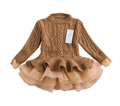 Belababy Girls Sweater Knitted Organza Stitching Pleated Tutu Shrugs Pullover, Brown