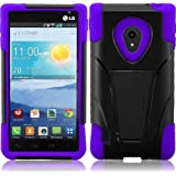 For LG Lucid 2 VS870 T-Stand Impact Kickstand Hybrid Double Layer Fusion Cover Case Black/Dark Purple