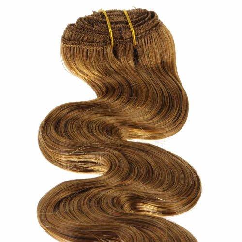 Just Beautiful Hair and Cosmetics Clip in Extensions aus Remy Echthaar gewellt 40 cm / Haarverlängerung, on Tressen - #12 honigblond, 1er Pack (1 x 1 Stück)