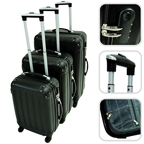 Set da 3 valigie Trolley nere - Valigie a rotelle rigide con sicurezza