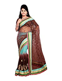 Bano Tradelink Women's Chiffon Saree (Brown)