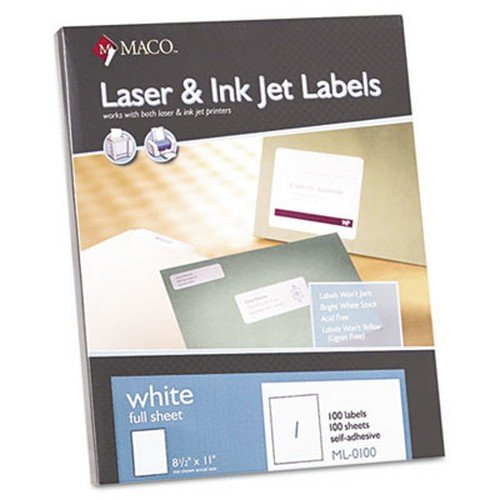 White All-Purpose Labels, 8 1/2 x 11, 100/Box