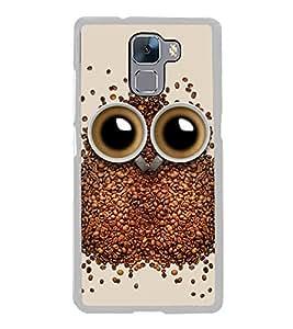 Coffee Owl 2D Hard Polycarbonate Designer Back Case Cover for Huawei Honor 7 :: Huawei Honor 7 Enhanced Edition :: Huawei Honor 7 Dual SIM