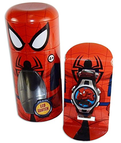 """Child's Wrist Watch, Official Licensed Spiderman, 6"""" Character Wrapped Gift Tin."""