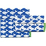 Lunchskins2 Multi-Pack Reusable Sandwich and Snack Bag, Blue Whale, Set of 2