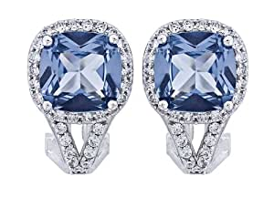 Platinum-Plated Sterling Silver Cubic Zirconia Earrings