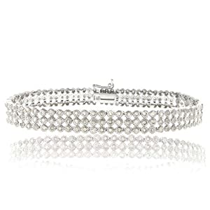 Sterling Silver 2ct Diamond Three Row Bracelet