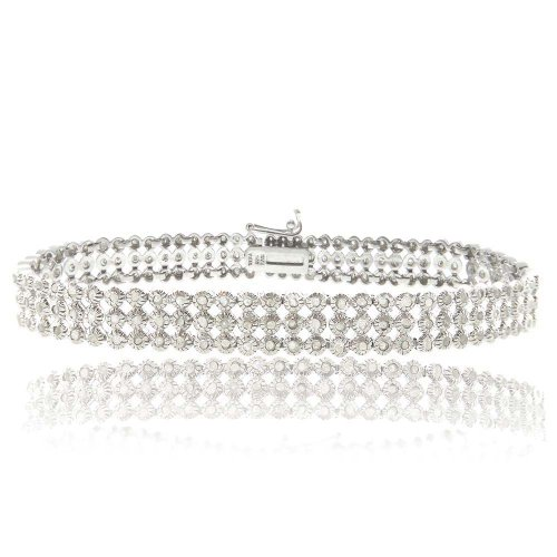 Sterling Silver 2ct Diamond Three Row Bracelet