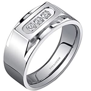 8MM Titanium Shiny and Stone 3 CZ Men's Engagement Band Ring Size T 1/2