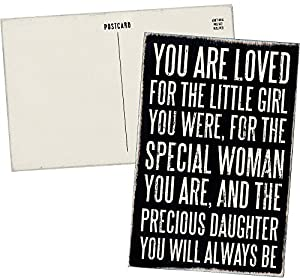 You Are Loved for the Little Girl You Were, For the Special Woman You Are, and the Precious Daughter You Will Always Be - Mailable Wooden Greeting Card for Birthdays, Weddings, and Special Occasions