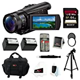 "Sony FDR-AX100/B FDRAX100 AX100 4K Ultra HD Camcorder (Black) + Sony 64GB SDHC High speed class 10 Memory Card + Tiffen Circular Polarizing Lens Filter & UV Protector + Two Additional Wasabi Power NP-FV70 Batteries + Focus 59"" tripod + Focus System Case + Accessory Kit"