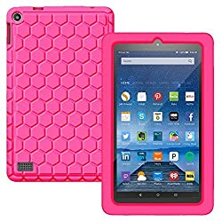 BMOUO Fire 7 2015 Case - Honey Comb Light Weight [Anti Slip] ShockProof Silicone Protective Cover [Kids Friendly] for Fire 7 Tablet (7