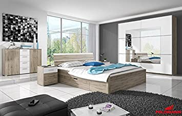 Bedroom set 54034 4 pieces san remo oak / white