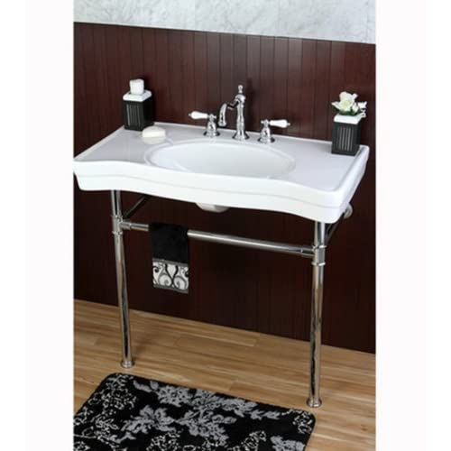 36 Inch Wall Mount Chrome Pedestal Vintage Bathroom Sink Vanity Kitchen  Lavatory Stain Resistant Easy To