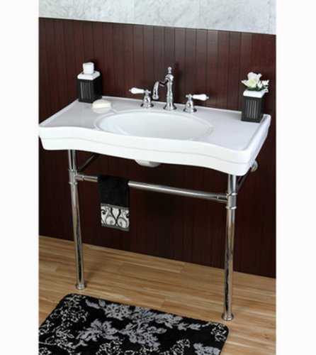 36 inch wall mount chrome pedestal vintage bathroom sink for Pedestal sink with metal legs